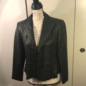 Coldwater Creek Short Green Leather Coat P6